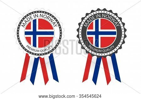 Two Modern Vector Made In Norway Labels Isolated On White Background, Simple Stickers In Norwegian C