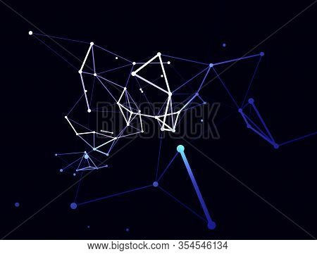 Trendy Line Art Icon With Blue Dots On Dark Background. Decorative Backdrop. Business Concept. Abstr