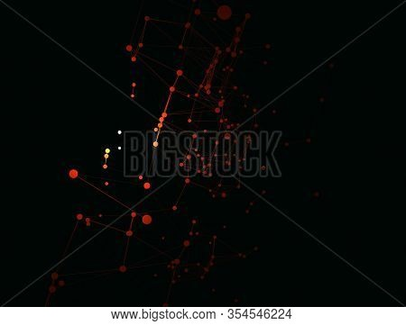 Trendy Line Art Icon With Red And Yellow Dots And Line On Dark Background. Decorative Backdrop. Busi