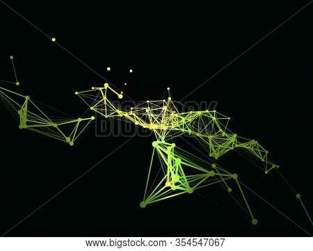 Trendy Line Art Icon With Yellow Dots On Dark Background. Decorative Backdrop. Business Concept. Abs