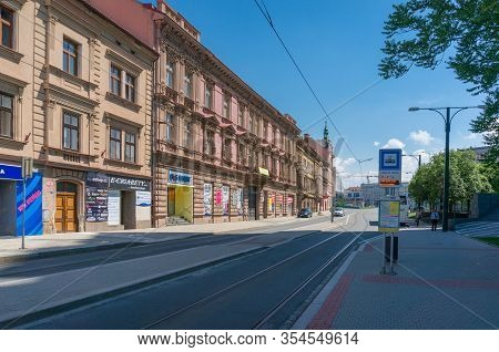 Pilsen, Czech Republic - May 26, 2018: Pilsen Street With Tramway Stop With Public Transport Timetab