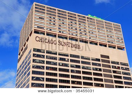 CHICAGO, IL - OCT 1: Chicago Sun-Times Building closeup on October 1, 2011 in Chicago, Illinois. It began in 1844 and is the oldest continuously published daily newspaper in the city of Chicago.