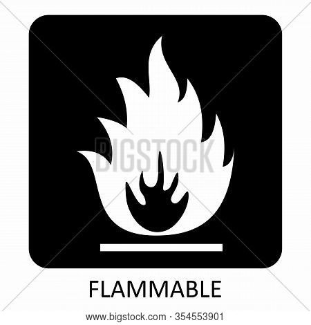 A Warning Flammable Symbol On Dark Background
