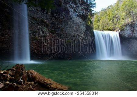 Cane Creek Falls & Rockhouse Falls At Fall Creek Falls State Park Tennessee During Early Spring