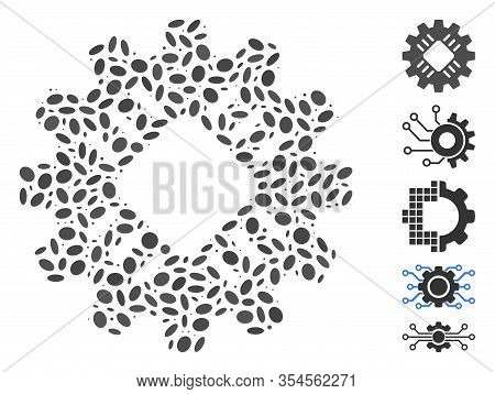Dotted Mosaic Based On Hardware Gear. Mosaic Vector Hardware Gear Is Composed With Scattered Ellipti