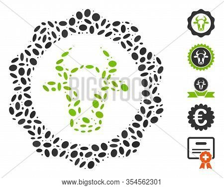 Dotted Mosaic Based On Beef Certificate. Mosaic Vector Beef Certificate Is Created With Randomized O