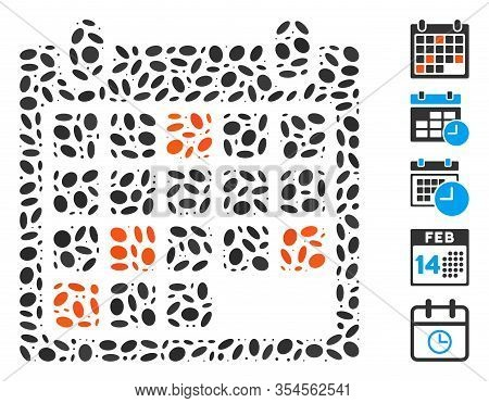 Dot Mosaic Based On Calendar Appointment. Mosaic Vector Calendar Appointment Is Created With Randomi