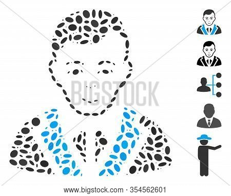 Dotted Mosaic Based On Noble Gentleman. Mosaic Vector Noble Gentleman Is Composed With Random Oval I