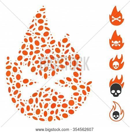 Dot Mosaic Based On Hellfire Flame. Mosaic Vector Hellfire Flame Is Formed With Scattered Elliptic S