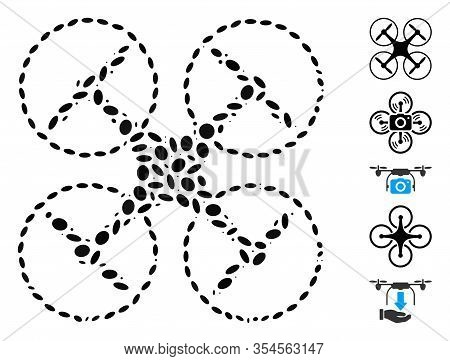 Dot Mosaic Based On Quadcopter. Mosaic Vector Quadcopter Is Created With Scattered Elliptic Items. B