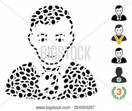 Dot Mosaic Based On 3rd Prizer Sportsman. Mosaic Vector 3rd Prizer Sportsman Is Composed With Random
