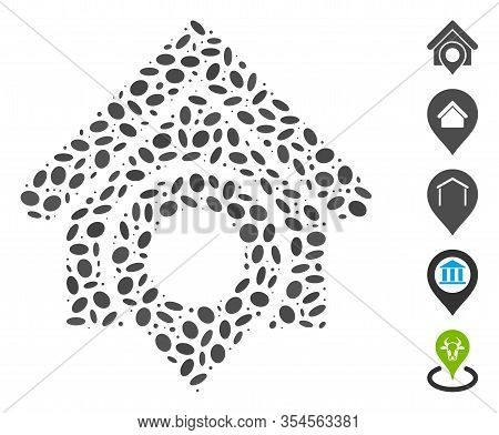 Dot Mosaic Based On Realty Location. Mosaic Vector Realty Location Is Formed With Random Elliptic El