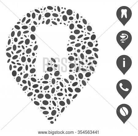 Dotted Mosaic Based On Stomatology Marker. Mosaic Vector Stomatology Marker Is Created With Randomiz