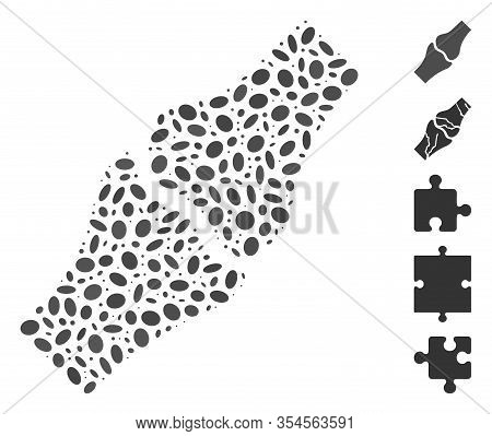 Dot Mosaic Based On Bone Joint. Mosaic Vector Bone Joint Is Created With Randomized Ellipse Dots. Bo