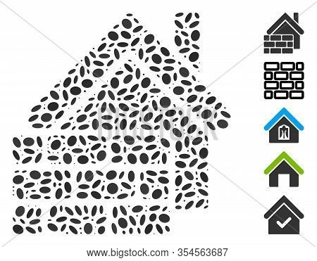 Dot Mosaic Based On Realty Brick Wall. Mosaic Vector Realty Brick Wall Is Created With Randomized El