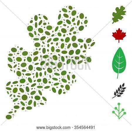 Dotted Mosaic Based On Oak Leaf. Mosaic Vector Oak Leaf Is Composed With Randomized Elliptic Spots.