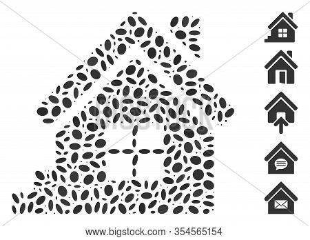 Dotted Mosaic Based On House Porch. Mosaic Vector House Porch Is Created With Scattered Elliptic Ele