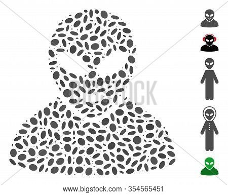 Dot Mosaic Based On Glad Alien Person. Mosaic Vector Glad Alien Person Is Composed With Scattered El