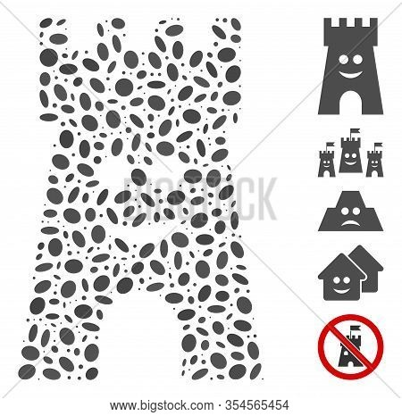 Dotted Mosaic Based On Happy Fort Tower. Mosaic Vector Happy Fort Tower Is Formed With Randomized El