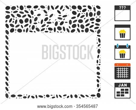 Dotted Mosaic Based On Unknown Calendar Page. Mosaic Vector Unknown Calendar Page Is Created With Ra