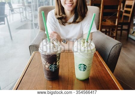 Chiang Rai, Thailand : April-25-2018 : A Couple Cup Of Starbucks New Frappuccino Drink In Starbucks
