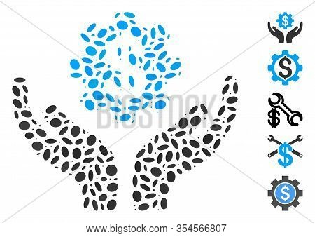 Dot Mosaic Based On Maintenance Price. Mosaic Vector Maintenance Price Is Created With Scattered Ell