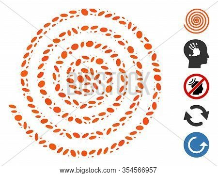 Dot Mosaic Based On Hypnosis. Mosaic Vector Hypnosis Is Designed With Scattered Oval Spots. Bonus Ic