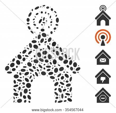 Dot Mosaic Based On Telecom Office. Mosaic Vector Telecom Office Is Designed With Scattered Ellipse