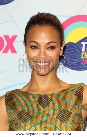 LOS ANGELES - JUL 22:  Zoe Saldana in the Press Room of the 2012 Teen Choice Awards at Gibson Ampitheatre on July 22, 2012 in Los Angeles, CA