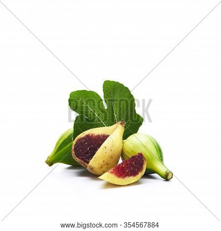 Figs Fruits Isolated On White Background