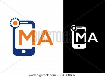 Mobile Phone Icon With Letter M A Logo Design Template.
