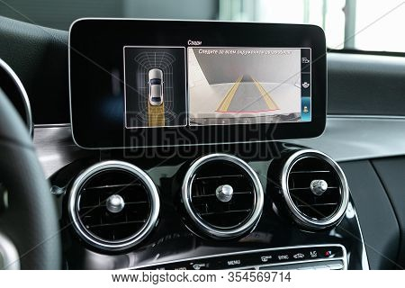Novosibirsk, Russia - March 06, 2020:  Mercedes-benz  C-class, Reverse Camera With Monitor, Close Up