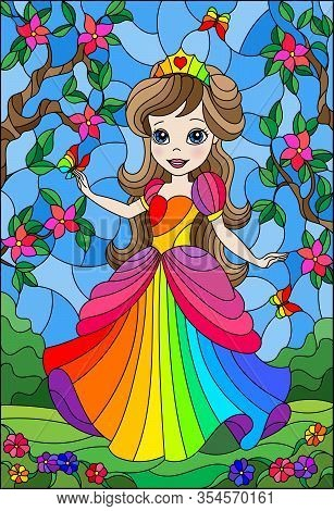 Illustration In Stained Glass Style With A Cute Princess On A Background Of Flowers And  Sky And Flo