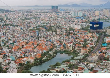 Vung Tau, Vietnam - December 22, 2015: View Of The Modern City Of Vung Tau From Mount Nyo On A Cloud