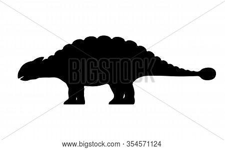 Ankylosaurus Silhouette. Vector Illustration Black Silhouette Of A Ankylosaurus Dinosaur Isolated On