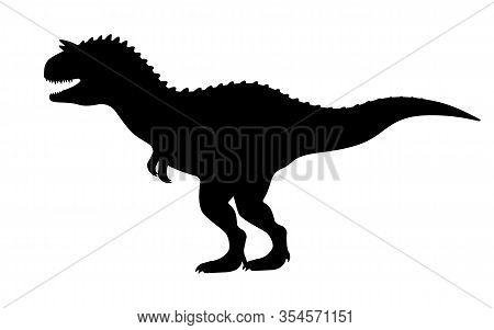Carnotaurus Silhouette. Vector Illustration Black Silhouette Of A Carnotaurus Dinosaur Isolated On A