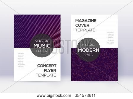 Modern Cover Design Template Set. Violet Abstract Lines On Dark Background. Exquisite Cover Design.