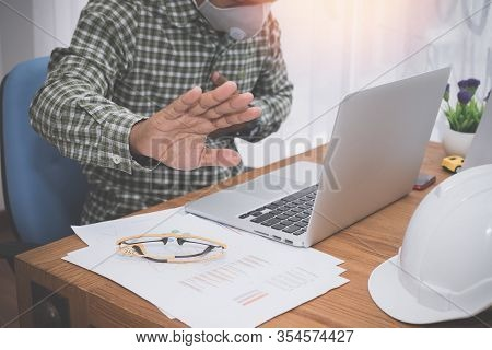 Businessman Holding Stop Hand Sign In Office Room.