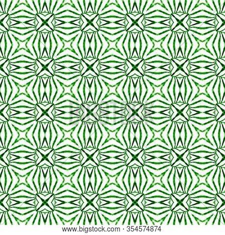 Ethnic Hand Painted  Pattern. Green Amusing Boho Chic Summer Design. Watercolor Summer Ethnic Border