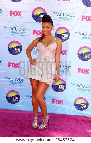 LOS ANGELES - JUL 22:  Francia Raisa arriving at the 2012 Teen Choice Awards at Gibson Ampitheatre on July 22, 2012 in Los Angeles, CA