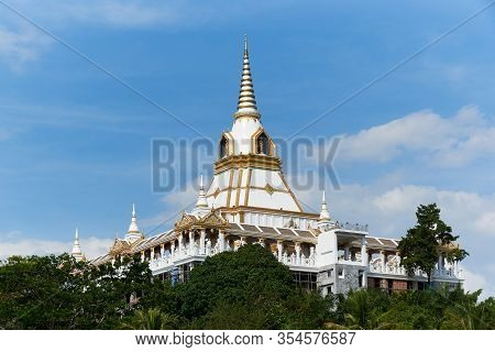 Beautiful Thai Temple At Ao Leuk, Krabi, Thailand On Blue Sky Background