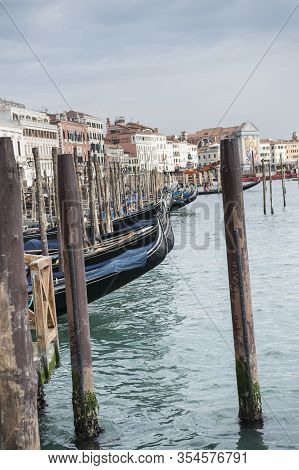 Gondolas On The Riva Degli Schiavoni In Venice