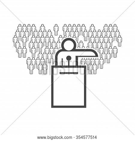Orator On The Podium And The Crowd Behind Him. Vector Flat Line Icon.