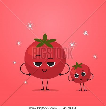 Cute Red Tomato Characters Couple Funny Cartoon Mascot Vegetable Personages Healthy Food Concept Vec