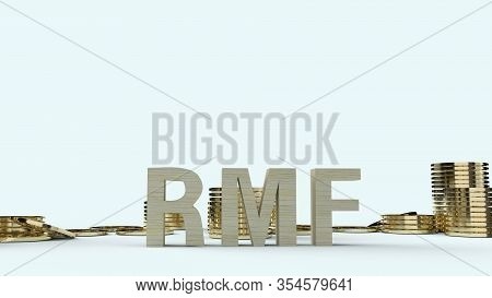 The Wood Text Rmf And Gold Coins 3d Rendering For Business Content.