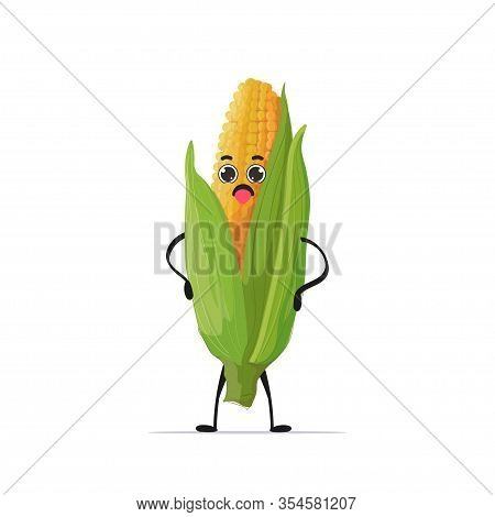 Cute Fresh Corn Character Tasty Mascot Vegetable Personage Healthy Food Concept Isolated Vector Illu