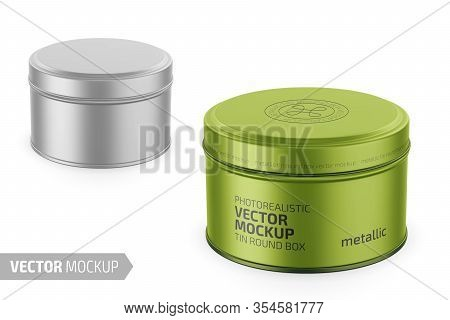 Round White Metallic Tin Round Box. Container For Dry Products - Tea, Coffee, Sugar, Cereals, Candy.