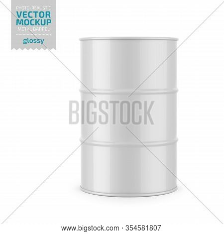 White Glossy 200 L Metal Barrel. Container For Liquid Chemical Products - Oil, Fuel, Gasoline. Photo