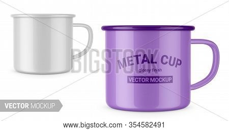 Glossy White Enamel Metal Cup. Contains An Accurate Mesh To Wrap Your Artwork With The Correct Envel