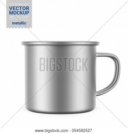 Metallic Gray Enamel Metal Cup. Photo-realistic Packaging Mockup Template. Front View. Vector 3d Ill